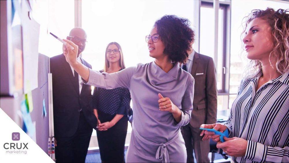 Mulheres empreendedoras protagonizando uma reunião de negócios.